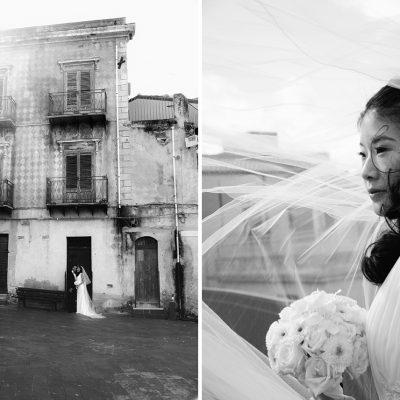 bianco e nero; sposi; ritratto sposa; palazzo antico; sicilia vecchia